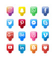 social media icon collection vector image vector image