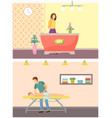 spa salon reception and massage procedure vector image vector image