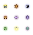 Spirituality icons set pop-art style vector image vector image