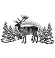 stylized monochrome with deer and vector image vector image