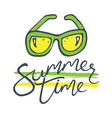 summer time sunglasses green yellow vector image vector image