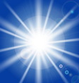 Sun rays and light effects on blue sky vector image vector image