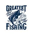 tshirt print with tuna fish catching rod hook vector image