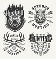vintage monochrome hunting club logotypes vector image vector image