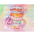Watercolor card with cup of tea and marshmallow vector image