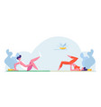 young athlete man and woman characters in sport vector image vector image