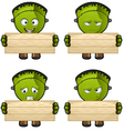 Monster Holding A Wooden Board vector image
