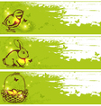 Easter horizontal banners with chicken rabbit vector image