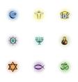 Faith icons set pop-art style vector image
