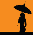 girl silhouette with umbrella vector image