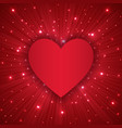 valentine day background with red heart vector image