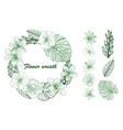 a beautiful wreath with beautiful floral leaves in vector image vector image