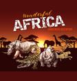 african safari animals and reptile sketch vector image