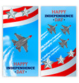 airplanes independence day banners realistic vector image