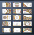 banners or visit cards with mandala decoration on vector image vector image