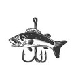 bass and fishing hook design element vector image