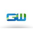blue green gw g w alphabet letter logo vector image vector image
