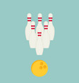 bowling ball and pins isolated on background vector image vector image