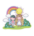 boy fairy with girl creature with sun and rainbow vector image vector image