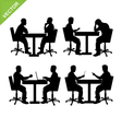 Business man meeting silhouette vector image vector image