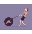Businesswoman dragging a weight Guilt on chain vector image vector image
