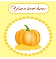 Card for Thanksgiving with pumpkin and leaves vector image