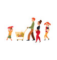 cartoon family at supermarket with shopping cart vector image