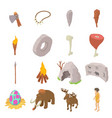 cavemen human icons set isometric style vector image vector image