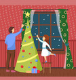 christmas holiday preparation father and daughter vector image vector image