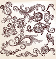 collection of hand drawn swirls in vintage style vector image vector image