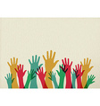 Colorful hands teamwork concept vector image vector image