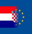 croatia national flag with a circle of eu vector image vector image