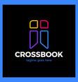 cross bookmark logotype bible book logotype vector image vector image