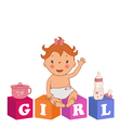 cute baby girl with children bricks vector image vector image