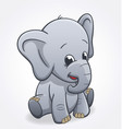 cute elephant infant sitting and smiling baby vector image vector image