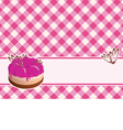delicious cake with berry jam on a plaid backgroun vector image vector image