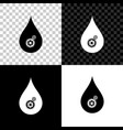 drop with gears icon isolated on black white and vector image