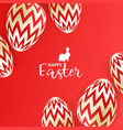 easter eggs on red background vector image vector image