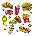 fast food - colorful isolated stickers set vector image vector image