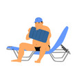 fat man blowing air pillow on beach chair vector image
