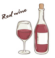 hand drawn of bottle and glass of red wine vector image vector image