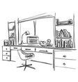 hand drawn workplace office interior vector image vector image