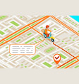 isometric delivery city street road map urban vector image vector image