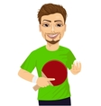 man holding table tennis racket and ball vector image