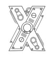 mechanical letter x engraving vector image vector image