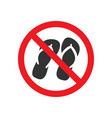 no sandals sign vector image vector image