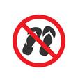 no sandals sign vector image