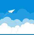 paper airplane in clouds on a blue background vector image vector image