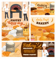pastry shop and bakery cartoon posters set vector image vector image