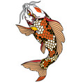 red white japanese koi fish vector image vector image